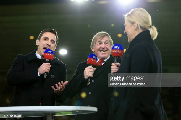 Sky Sports pundit Gary Neville shares a laugh with presenter Kelly Cates and her father Liverpool legend Kenny Dalglish before the Premier League...