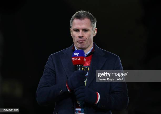 Sky Sports pundit Jamie Carragher before the Premier League match between Wolverhampton Wanderers and Liverpool FC at Molineux on December 21 2018 in...