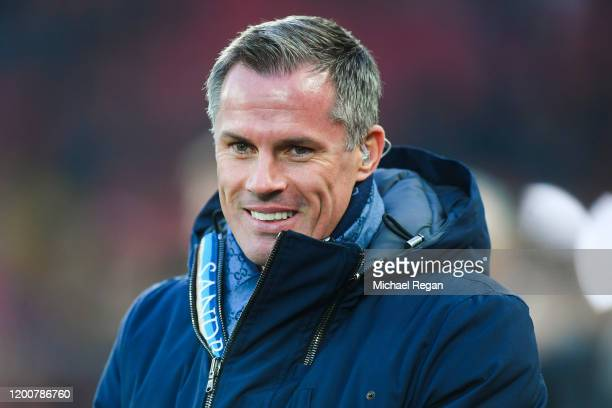 Sky Sports pundit Jamie Carragher looks on during the Premier League match between Liverpool FC and Manchester United at Anfield on January 19, 2020...