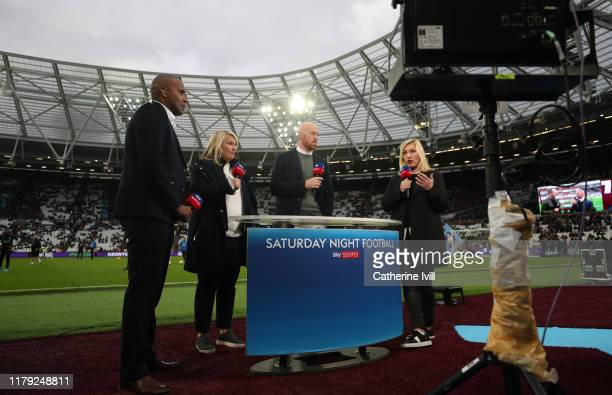 Sky Sports Saturday night football presented pitchside by Kelly Cates James Collins and Emma Hayes and Clinton Morrison during the Premier League...