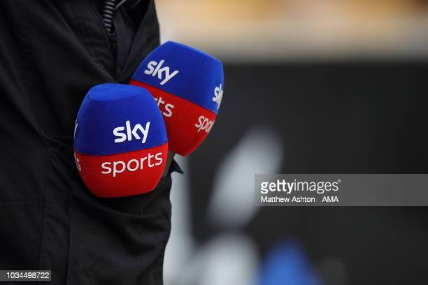 Sky Sports Television microphones in a pocket of a TV engineer after the Premier League match between Wolverhampton Wanderers and Burnley FC at...