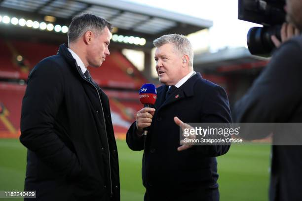 Sky Sports television presenter Geoff Shreeves interviews Jamie Carragher pitchside before the Premier League match between Liverpool FC and...