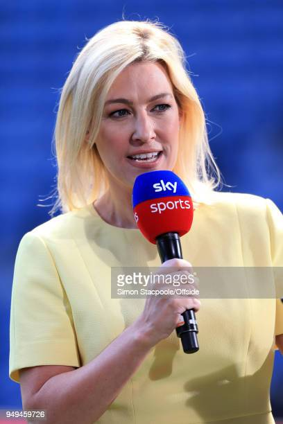 Sky Sports television presenter Kelly Cates speaks ahead of the Premier League match between West Bromwich Albion and Liverpool at The Hawthorns on...