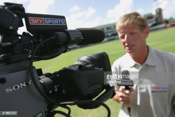 Sky Sports' Tim Abraham speaks prior to the the 1st Test Match between South Africa and England at St Georges cricket ground on December 15 2004 in...