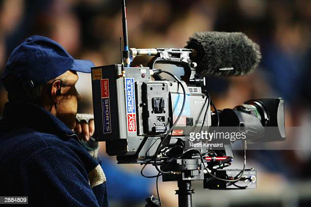 Sky Sports TV cameraman filming during the FA Barclaycard Premiership match between Aston Villa and Portsmouth on January 6, 2004 at Villa Park in...