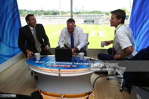 Sky Sports TV presenters Mike Atherton Sir Ian Botham and Nick Knight during the ICC Champions Trophy Group A match between England and Australia at...