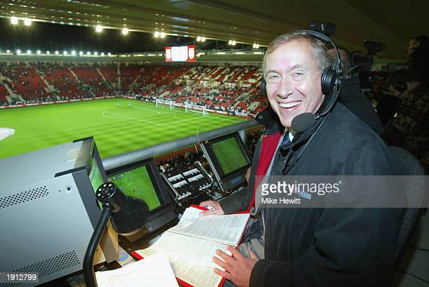 Sky television commentator Martin Tyler in the commentary boxbefore the Euro 2004 Championship Qualifying match between England and Macedonia on...