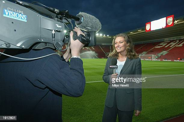 Sky television presenter Claire Tomlinson standing pitch-side before the Euro 2004 Championship Qualifying match between England and Macedonia on...