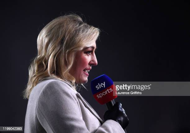 Sky Television Presenter Kelly Cates speaks to camera during the Premier League match between Sheffield United and West Ham United at Bramall Lane on...