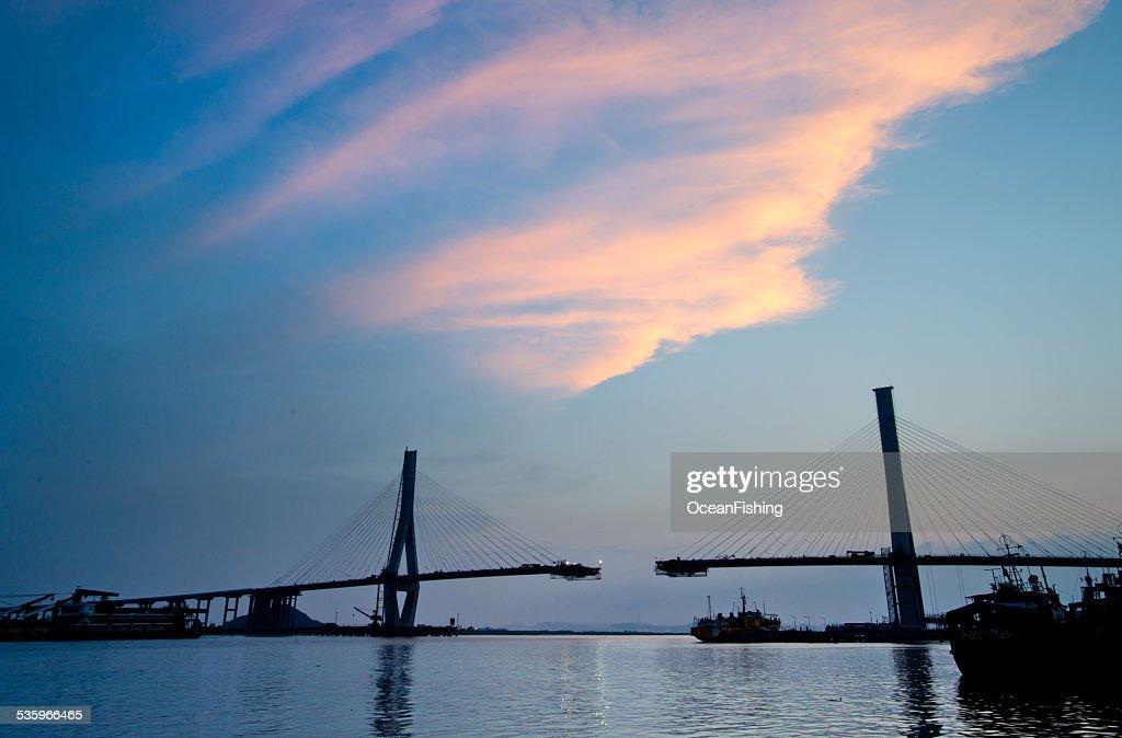 sky train under construction at twilight : Stock Photo