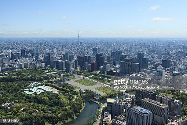 sky tree from imperial palace - imperial palace tokyo stock photos and pictures
