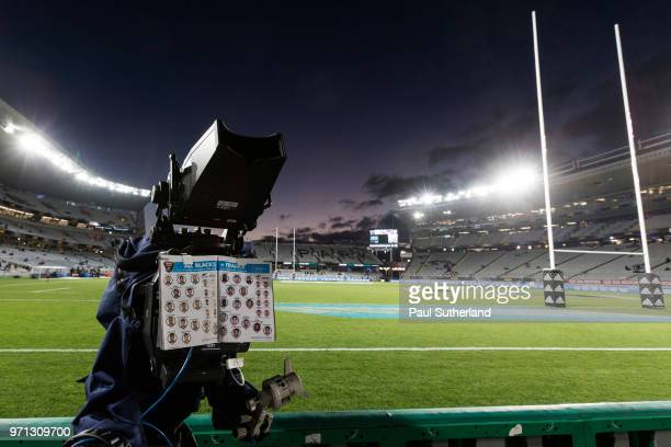 Sky TV camera during the International Test match between the New Zealand All Blacks and France at Eden Park on June 9 2018 in Auckland New Zealand