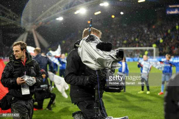 Sky TV cameramen during the Premier League match between Huddersfield Town and Chelsea at John Smith's Stadium on December 12 2017 in Huddersfield...