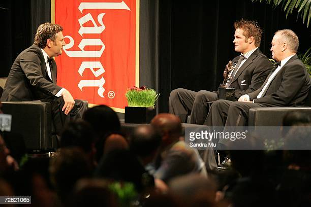 Sky TV commentator Tony Johnson interviews All Black captain Richie McCaw and All Black coach Graham Henry after accepting the Adidas Team of the...