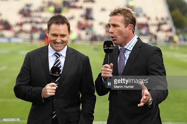 Sky tv commentators Andrew Mehrtens and Justin Marshall Sky commentators during the round one Super Rugby match between the Crusaders and the Rebels...