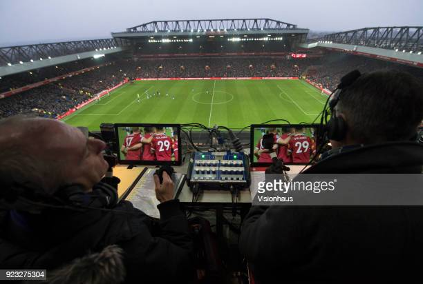 Sky TV commentators Rob Hawthorne and Alan Smith at the Premier League match between Liverpool and Everton at the Anfield Stadium on December 10 2017...