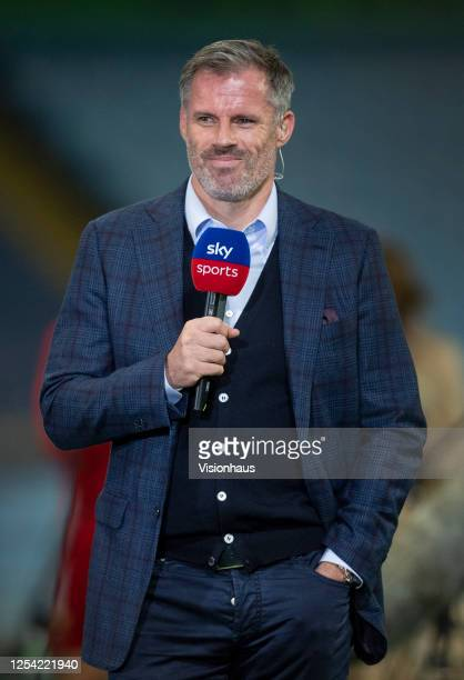 Sky TV presenter Jamie Carragher after the Premier League match between Manchester City and Liverpool FC at Etihad Stadium on July 2, 2020 in...