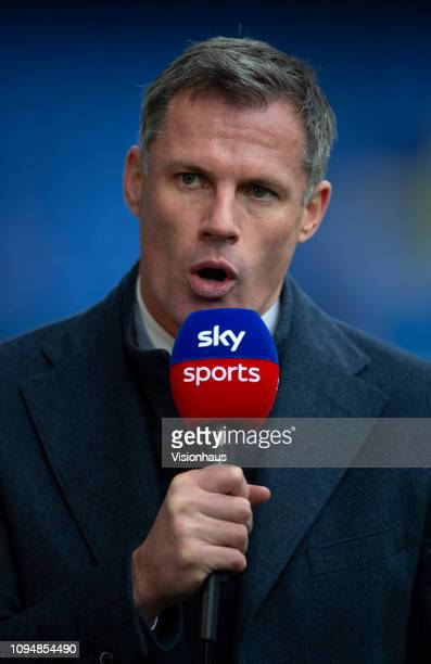 Sky TV presenter Jamie Carragher reporting before the Premier League match between Everton FC and AFC Bournemouth at Goodison Park on January 13 2019...
