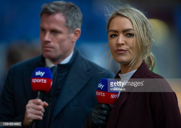 Sky TV presenters Jamie Carragher and Laura Woods before the Premier League match between Everton FC and AFC Bournemouth at Goodison Park on January...