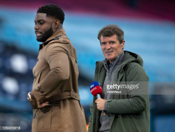 Sky TV presenters Micah Richards and Roy Keane before the Premier League match between Manchester City and Liverpool FC at Etihad Stadium on July 2,...