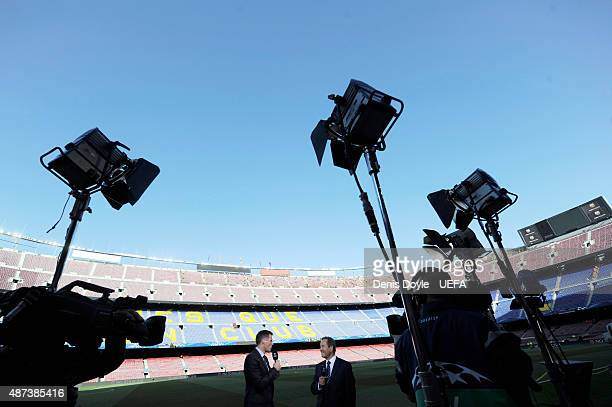 Sky TV pundit Jamie Carragher and presenter Jeff Stelling during the UEFA Champions League semifinal match between FC Barcelona and FC Bayern Munchen...