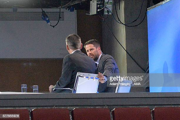 Sky TV pundit Jamie Carragher looks on during the Barclays Premier League match between Arsenal and West Bromwich Albion at the Emirates Stadium on...