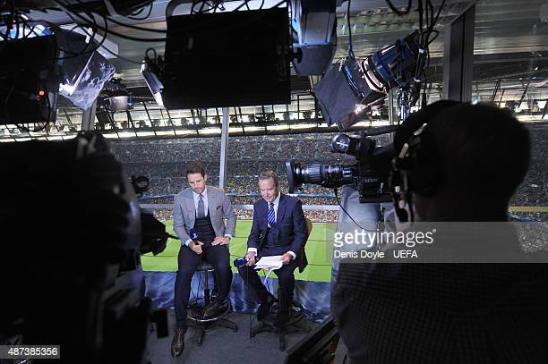 Sky TV pundit Jamie Redknapp with TV presenter Jeff Stelling the UEFA Champions League semifinal match between FC Barcelona and FC Bayern Munchen at...