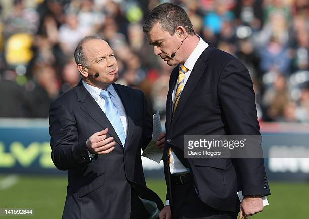 Sky tv rugby pundits Ieuan Evans and Dean Ryan talk during the LV=Cup Final between Leicester Tigers and Northampton Saints at Sixways Stadium on...