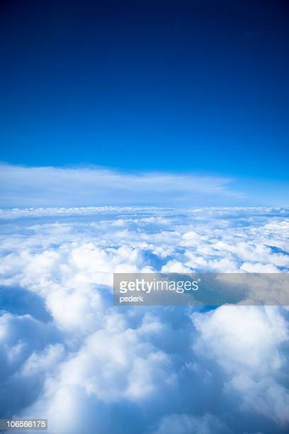 Sky view in the clouds in blue and white