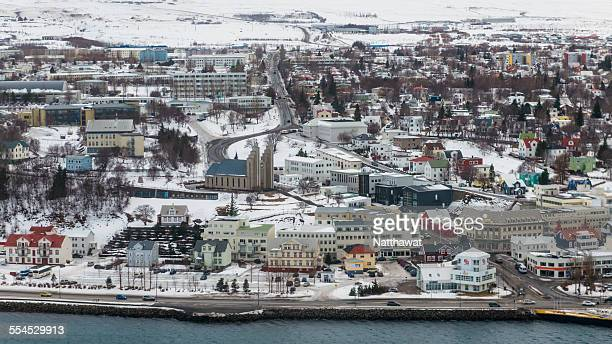 Sky View of Akureyri City