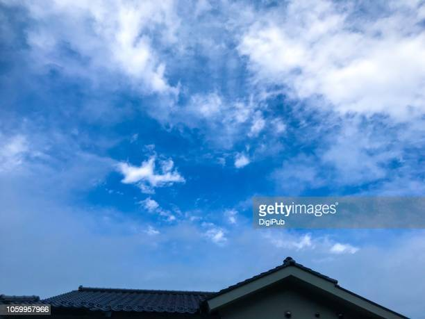 sky with clouds after rain in the morning - 十月 ストックフォトと画像