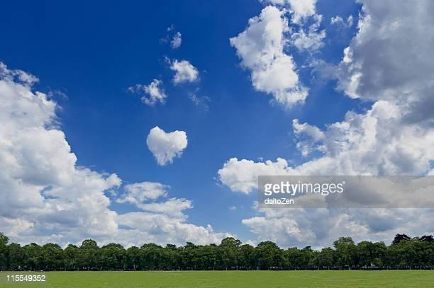 Sky with heart shaped cloud