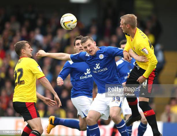 Skybet Championship play-off semi-final, Watford FC v Leicester City, Chris Wood of Leicester and Joel Ekstrand of Watford challenge for the ball at...