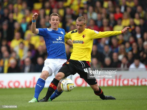 Skybet Championship play-off semi-final, Watford FC v Leicester City, Harry Kane of Leicester and Joel Ekstrand of Watford challenge for the ball at...