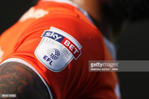 SkyBet League One EFL Logo on the Sleeve of a Shrewsbury Town player during the Sky Bet League One match between Plymouth Argyle and Shrewsbury Town...