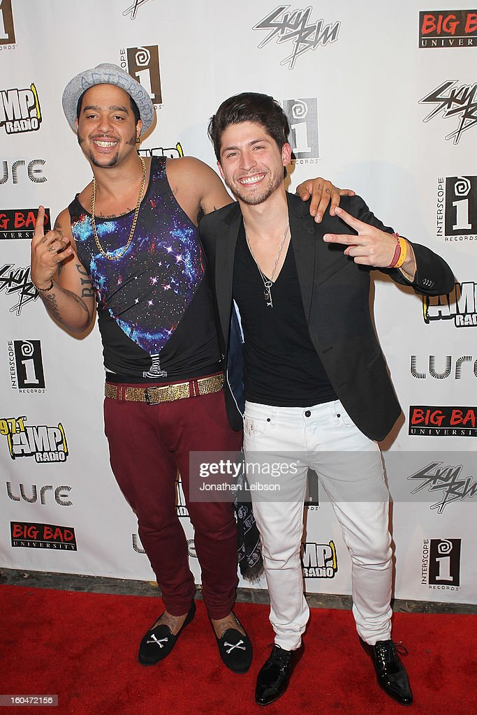 SkyBlu and Mark Rosas pose at the SkyBlu 'Pop Bottles' Single Release Party at Lure on January 31, 2013 in Hollywood, California.