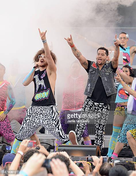 SkyBlu and Redfoo of LMFAO perform on ABC's Good Morning America at Rumsey Playfield Central Park on June 29 2012 in New York City