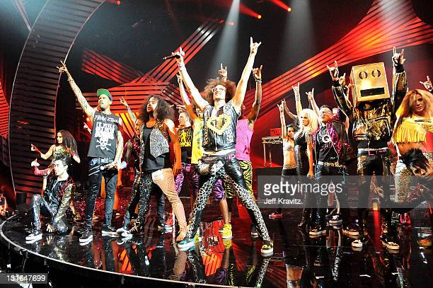 SkyBlu and Redfoo of LMFAO perform onstage during the MTV Europe Music Awards 2011 live show at at the Odyssey Arena on November 6 2011 in Belfast...