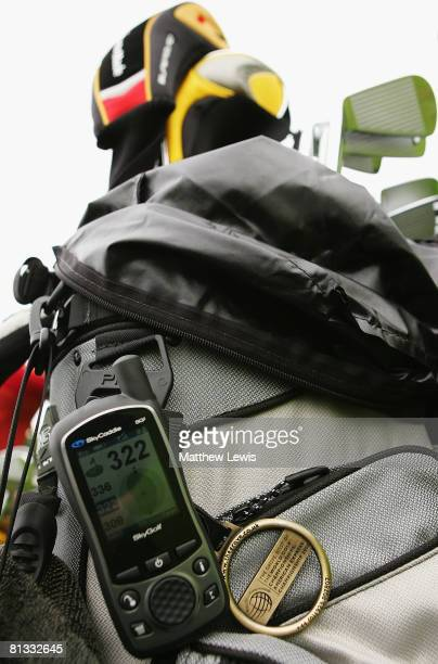 SkyCaddie GPS machine is clipped onto a golf bag during the SkyCaddie PGA Fourball Championship East Region Qualifier at Bush Hill Park Golf Club on...