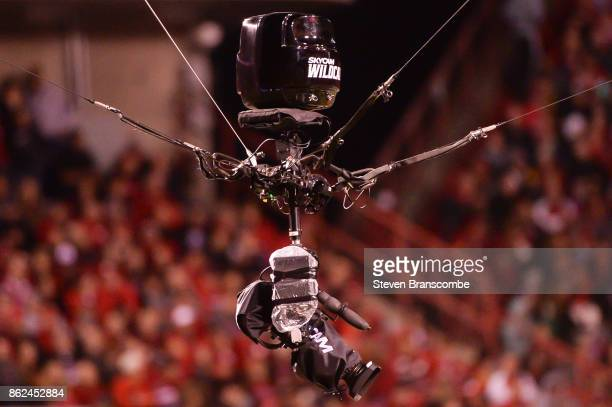 A skycam hovers over the field during the game between the Nebraska Cornhuskers and the Ohio State Buckeyes at Memorial Stadium on October 14 2017 in...