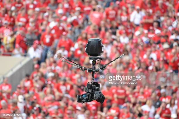 Skycam over the field during the game between the Nebraska Cornhuskers and the Colorado Buffaloes at Memorial Stadium on September 8 2018 in Lincoln...