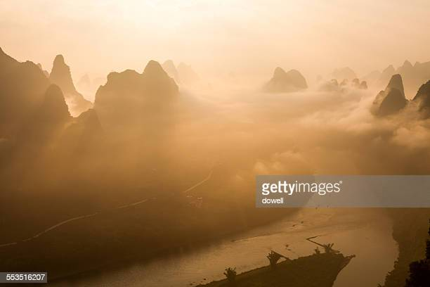 Sky,cloud,river and hills in Guilin at sunset