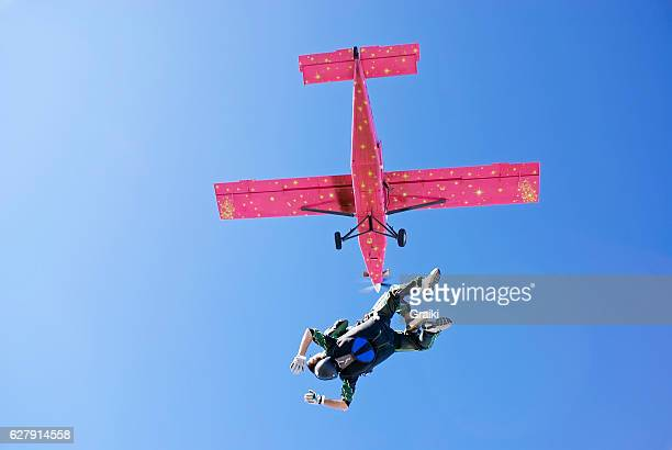 Skydive tandem from the pink airplane