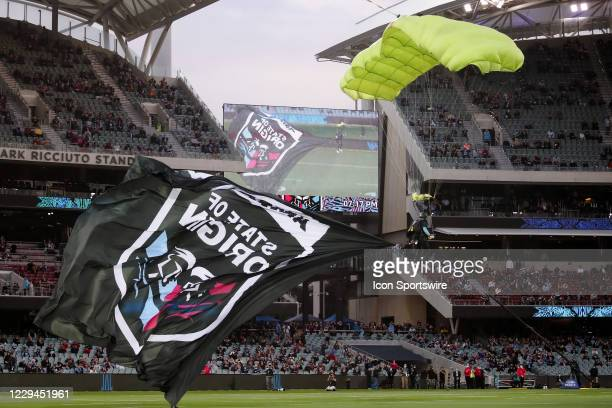 Skydiver at opening of game one of the 2020 State of Origin series between the Queensland Maroons and New South Wales Blues at the Adelaide Oval on...