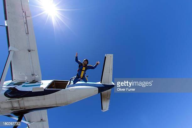 Skydiver enjoying freedom