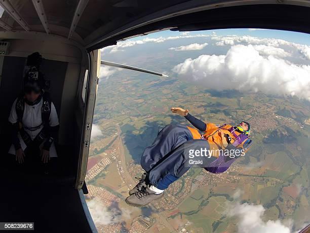 Skydiver exit back flip