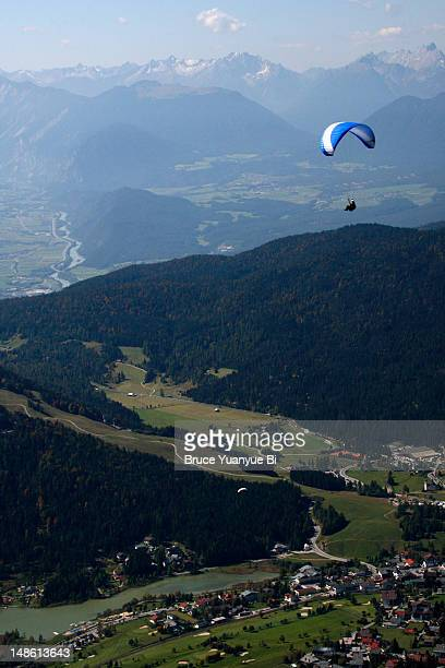 Skydiver flying over Seefeld valley.