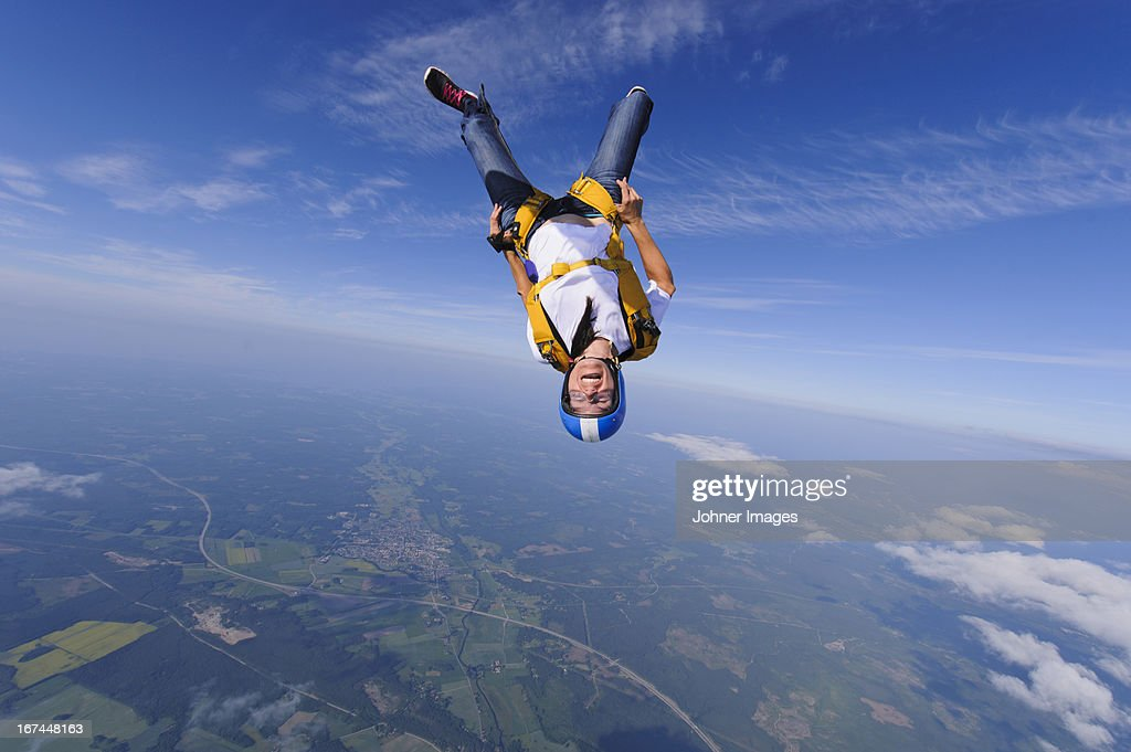 Skydiver in mid-air : Stock Photo
