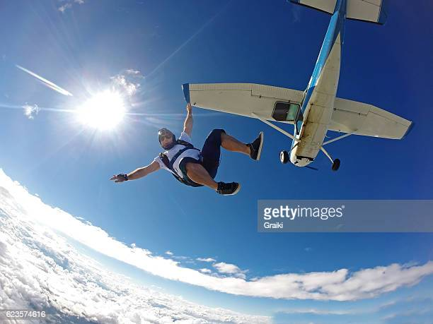 Skydiver jump from the small plane