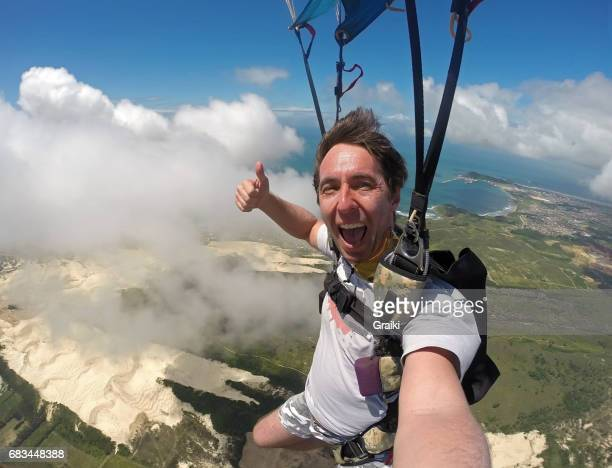 skydiver selfie - brazilian men stock photos and pictures